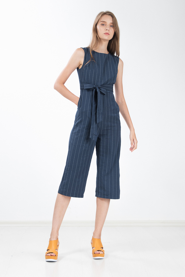 Emersyn Pinstriped Jumpsuit in Navy Blue