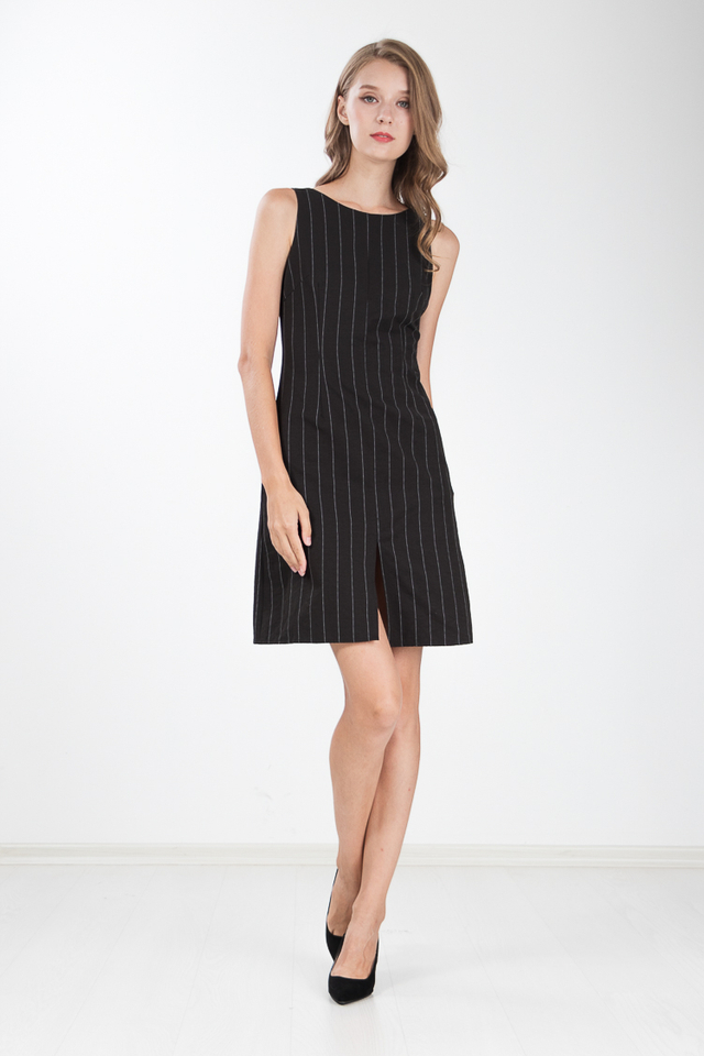 Katrina Slit Sheath Dress in Black