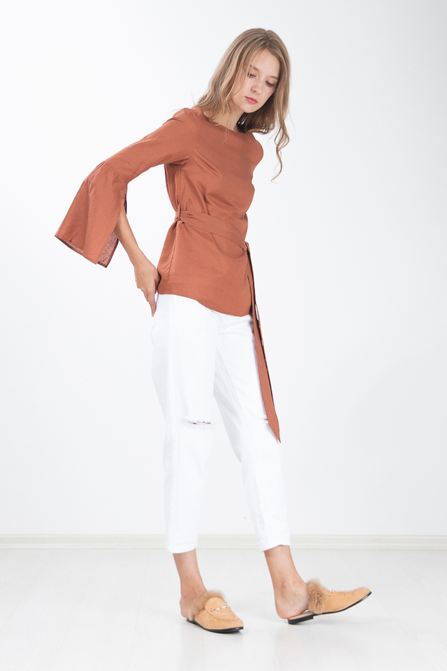 Lucca Slit Sleeved Top in Sienna