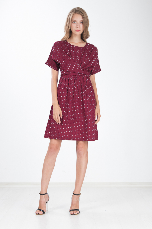 Trellis Polka Dot Dress in Wine Red