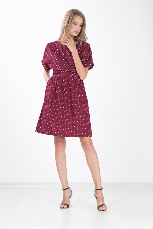 Trellis Polka Dot Dress in Wine Red