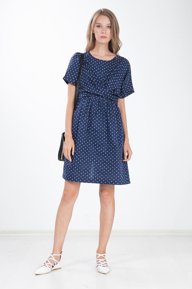 Trellis Polka Dot Dress in Navy Blue