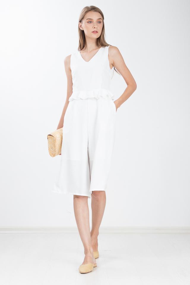 Yumiko Peplum Jumpsuit in White