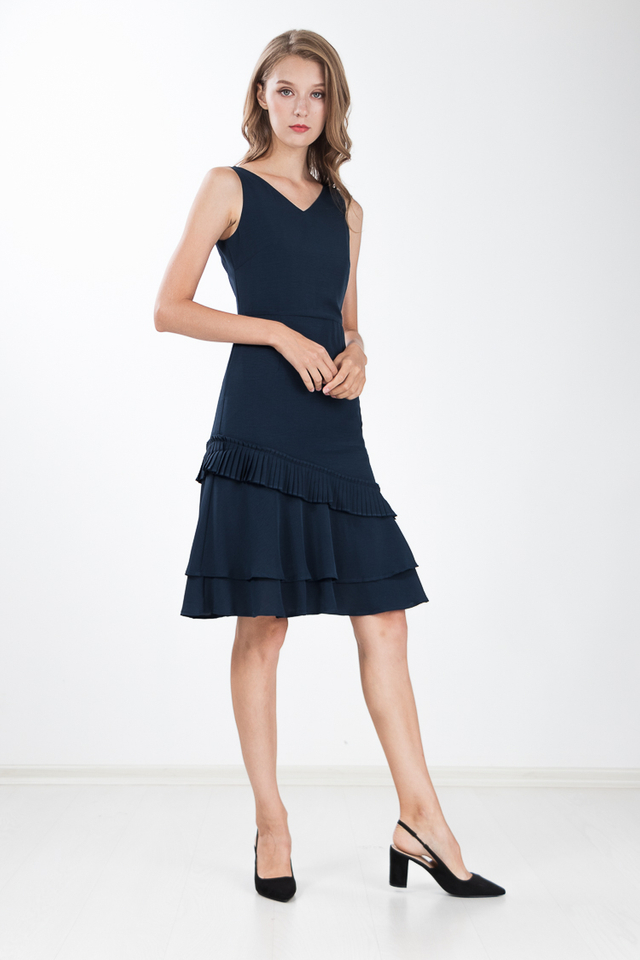 Aliya Tiered Dress in Navy Blue