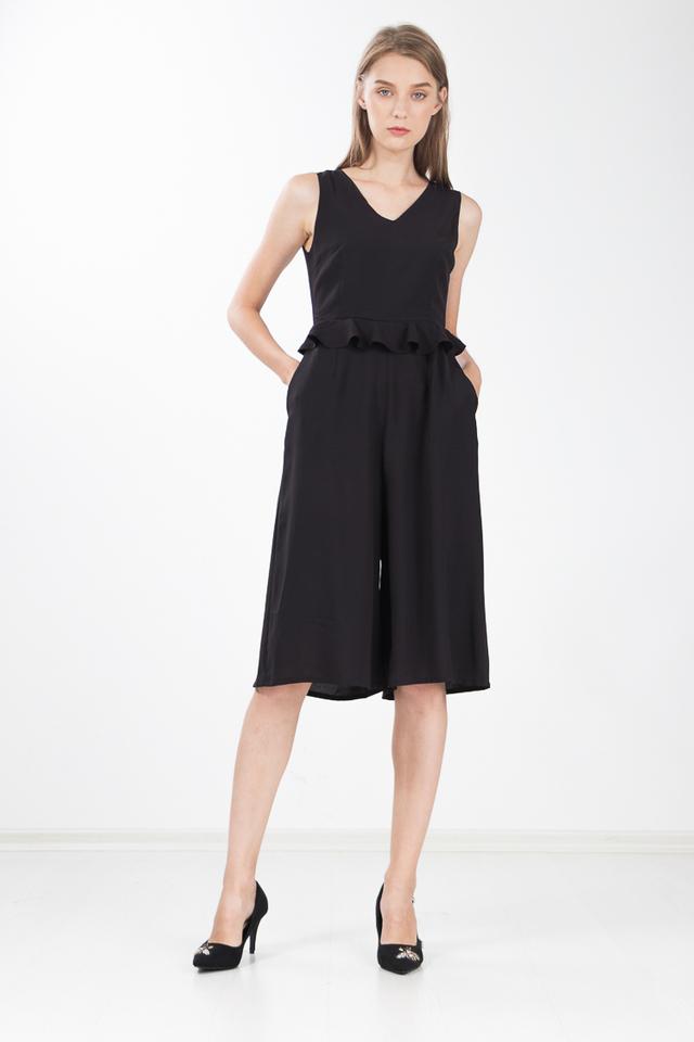 Yumiko Peplum Jumpsuit in Black