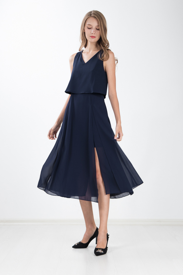 Loretta Maxi Dress in Navy Blue