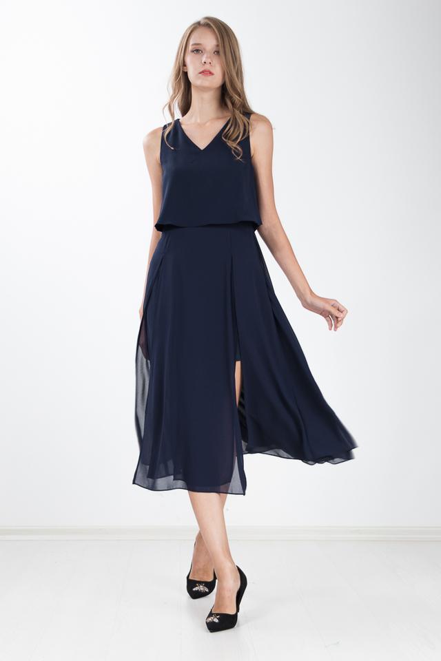 Loretta Maxi Dress in Navy Blue