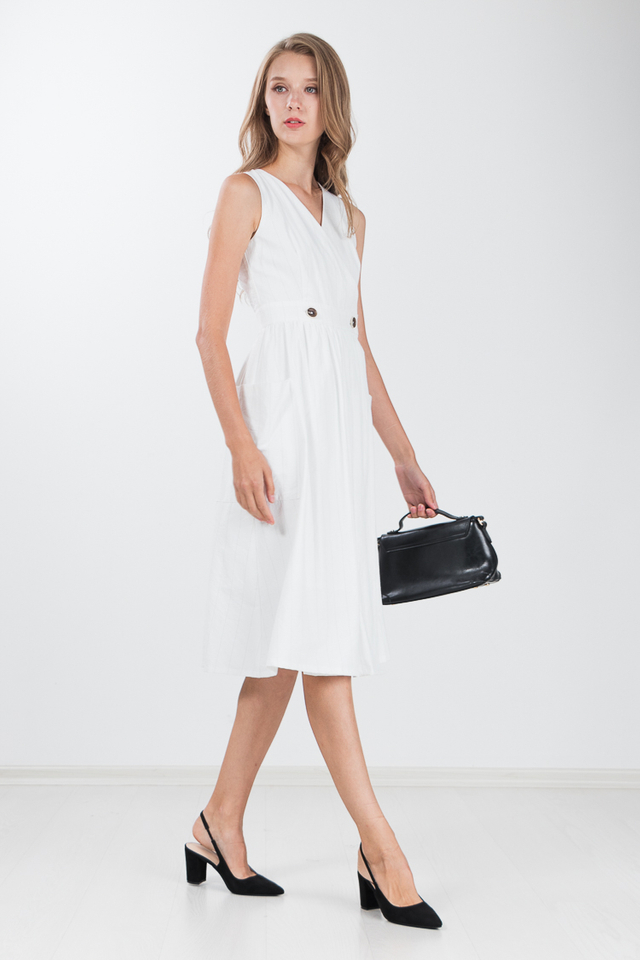 Marissa Linen Midi Dress in White
