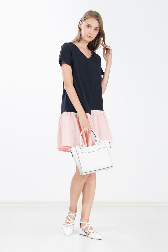 Ruella Colour Block Dress in Pink