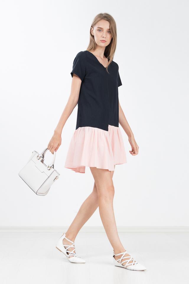 Ruella Colour Block Dress in Pink