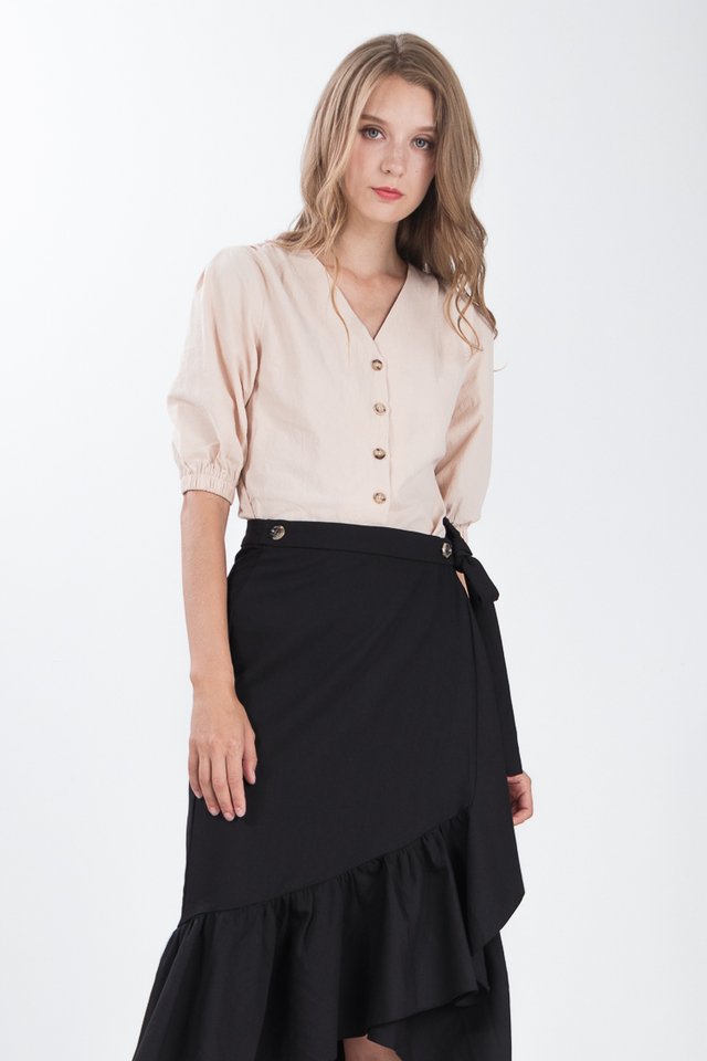 Yulie Button Top in Khaki