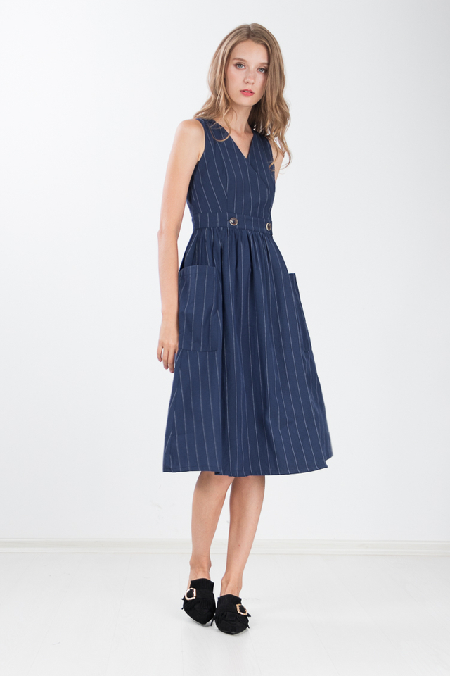 Marissa Linen Midi Dress in Navy Blue