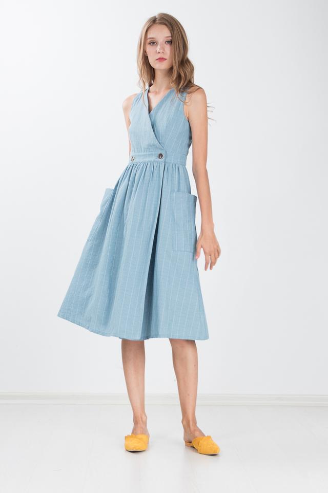 Marissa Linen Midi Dress in Turkish Blue