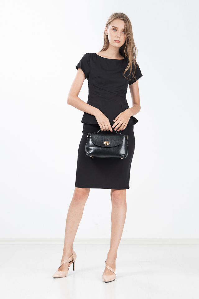 York Peplum Shift Dress in Black
