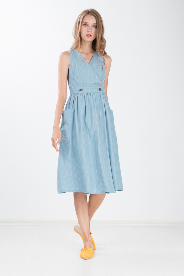Marissa Linen Midi Dress in Turkish Blue