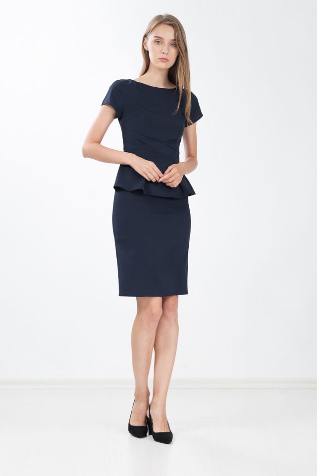 York Peplum Shift Dress in Navy Blue