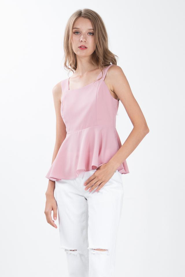 Devie Peplum Top in Pink