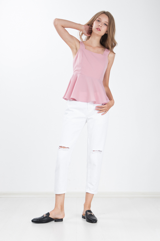 Devie Peplum Top in Pink