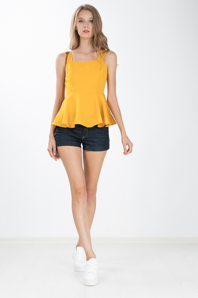 Devie Peplum Top in Marigold