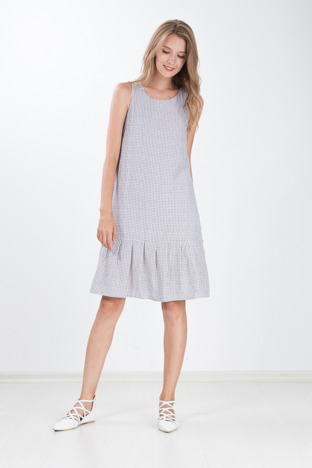 Moera Gingham Midi Dress in Grey