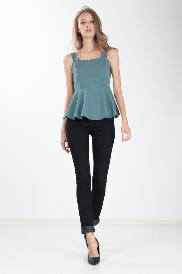 Devie Peplum Top in Turkish Blue