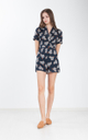 Bettina Floral Trench Romper in Navy Blue
