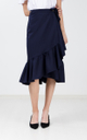 Evah Ruffle Wrap Skirt in Navy Blue