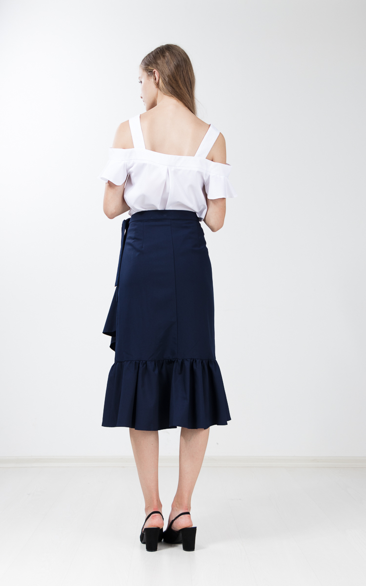 Evah Ruffle Wrap Skirt in Navy Blue
