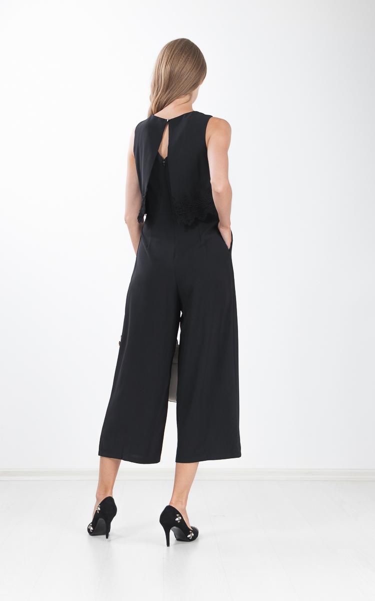 Panni Crochet Cape Jumpsuit in Black
