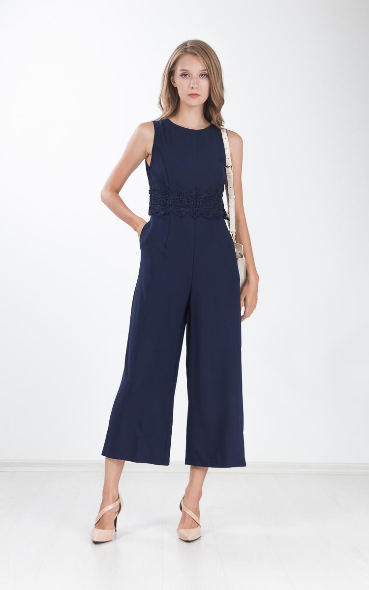 Panni Crochet Cape Jumpsuit in Navy Blue