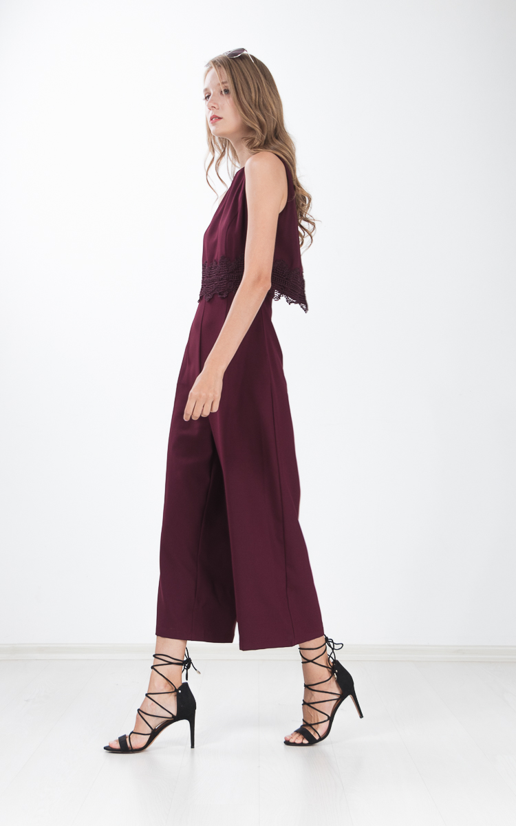 Panni Crochet Cape Jumpsuit in Wine Red