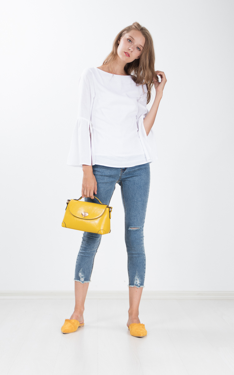 Lucca Slit Sleeved Top in White