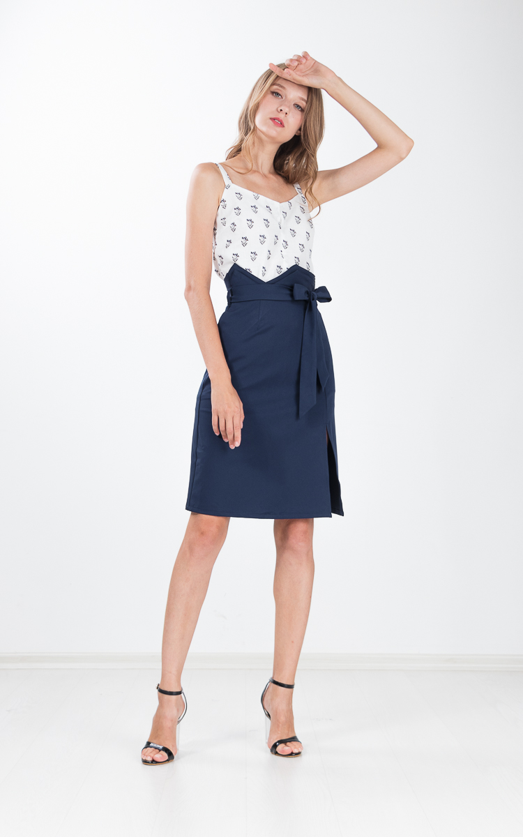 Lita Paper Bag Skirt in Yale Blue