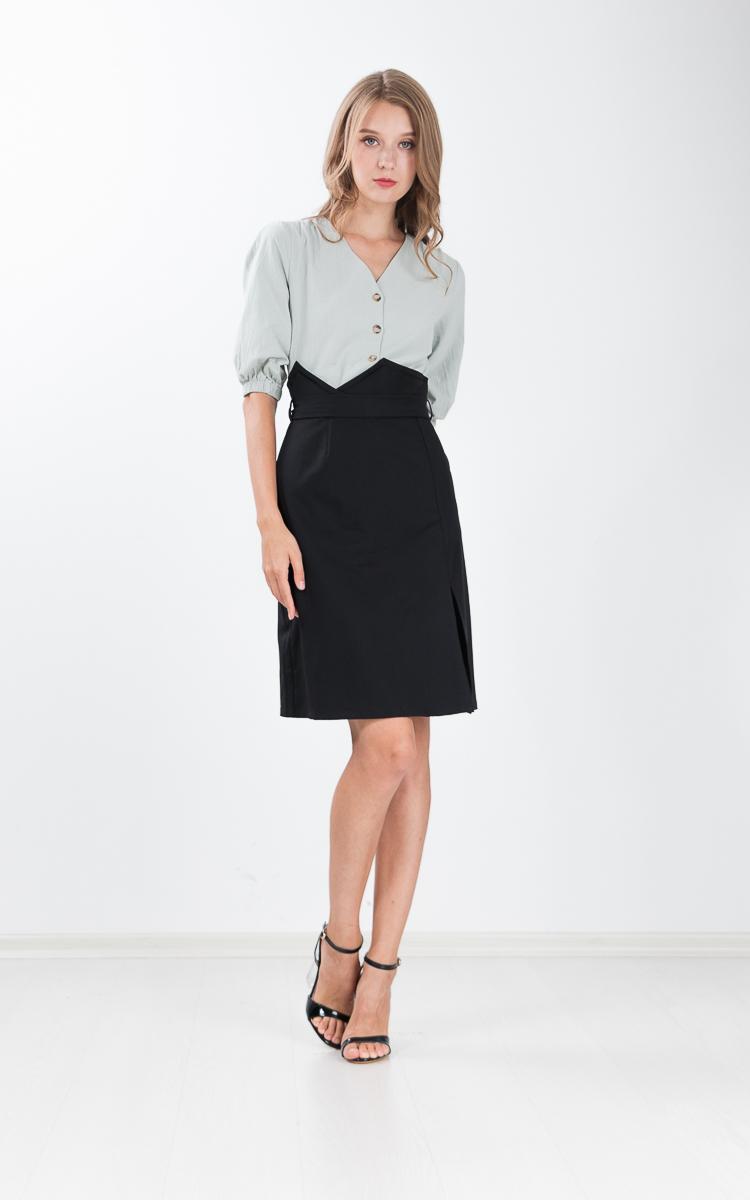 Lita Paper Bag Skirt in Black