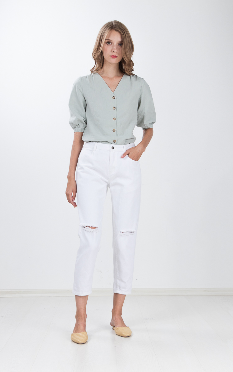 Yulie Button Top in Mint