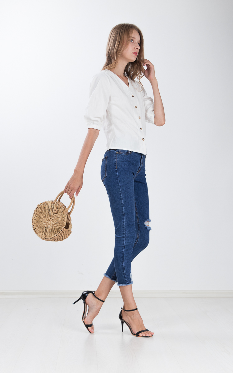 Yulie Button Top in White