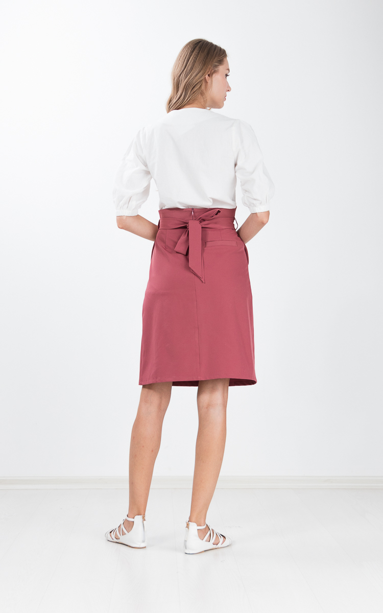 Lita Paper Bag Skirt in Chestnut Rose