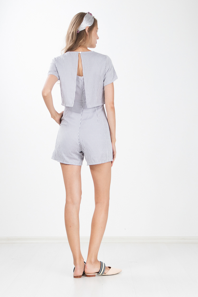 Vinny Gingham Cape Romper in Grey