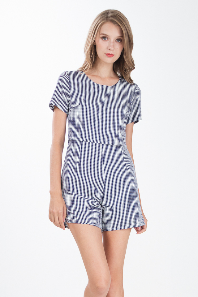 Vinny Gingham Cape Romper in Navy Blue
