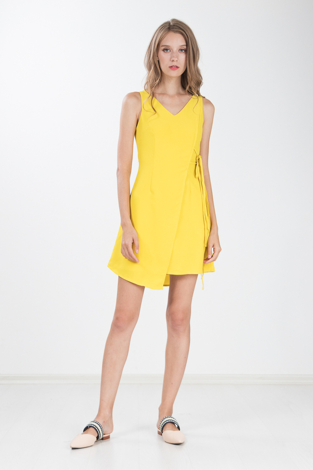 Geetha Tie Dress in Yellow
