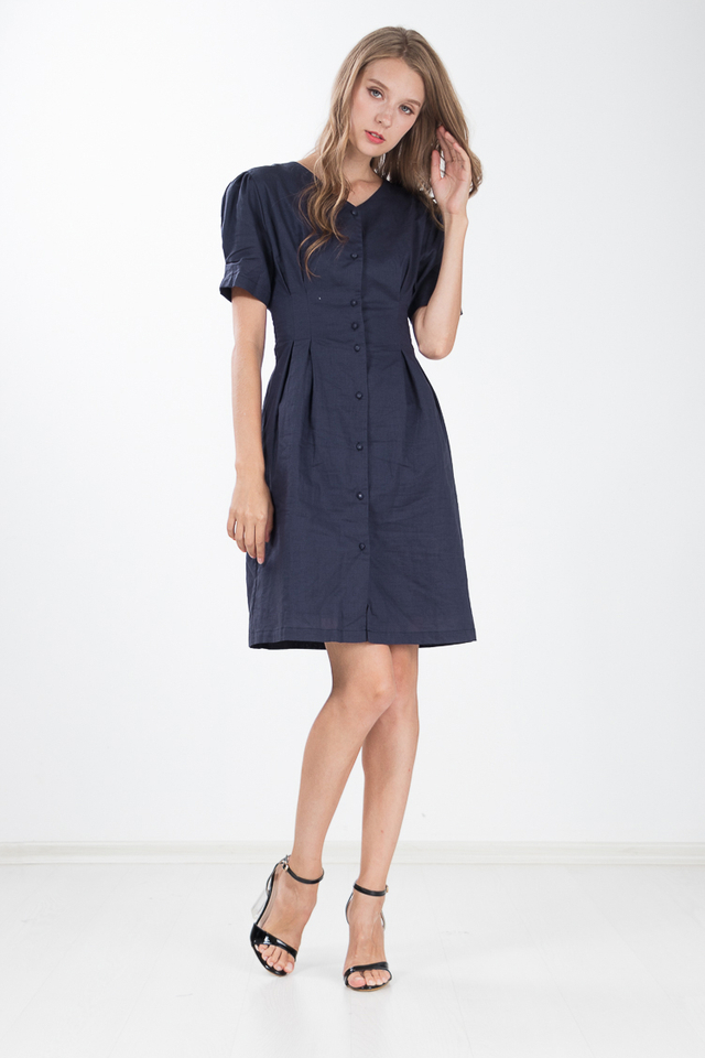 Willen Button Dress in Navy Blue