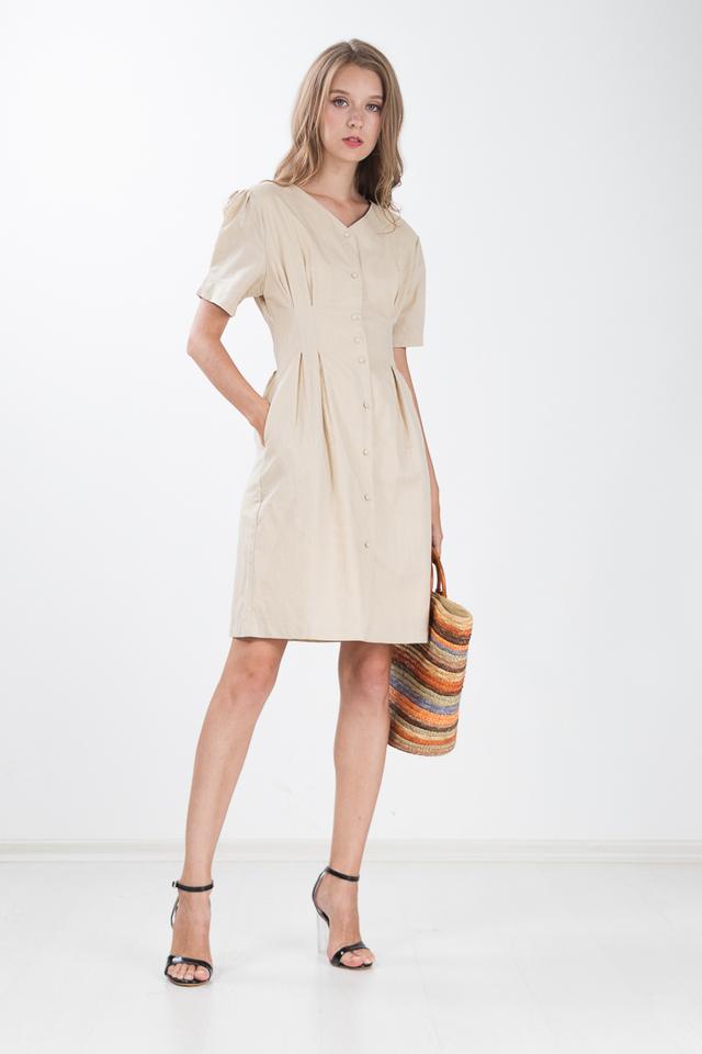 Willen Button Dress in Sand