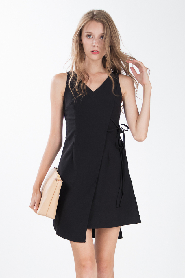 Geetha Tie Dress in Black