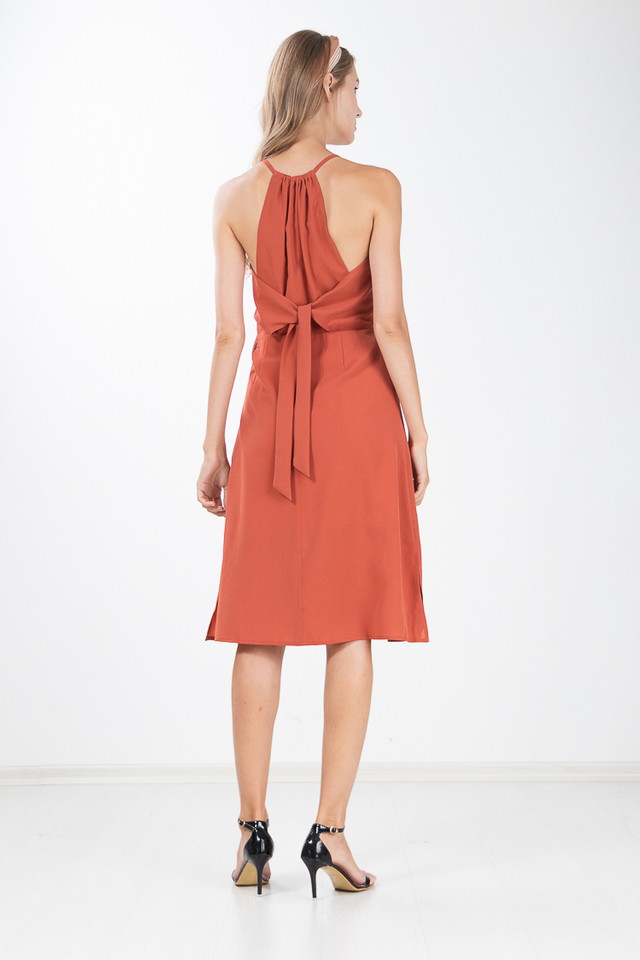 Margi Halter Dress in Rust