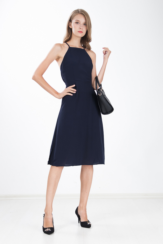 Margi Halter Dress in Navy Blue
