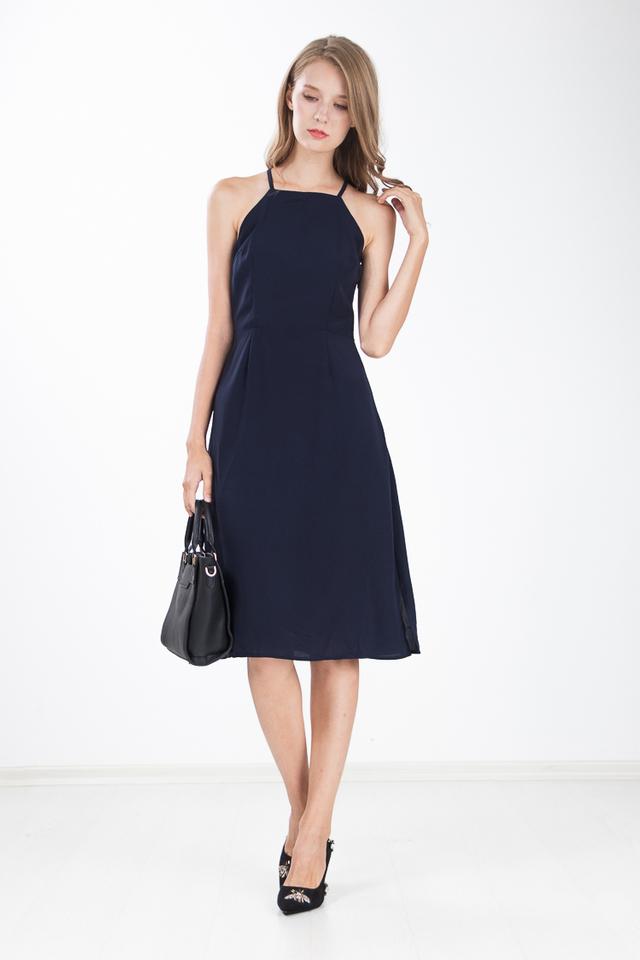 Margi Halter Dress in Navy Blue
