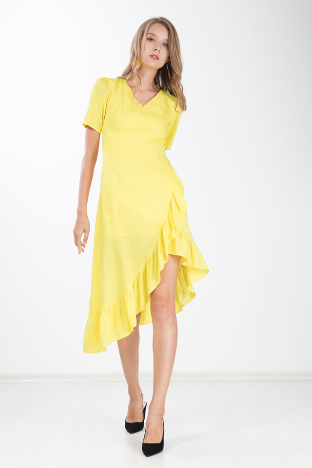 Carrita Ruffle Maxi Dress in Lemon Yellow