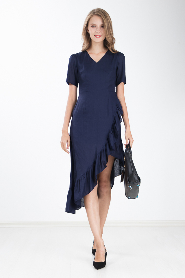 Carrita Ruffle Maxi Dress in Navy Blue