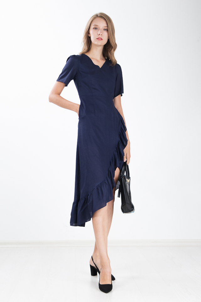 Carrita Ruffle Maxi Dress in Navy Blue