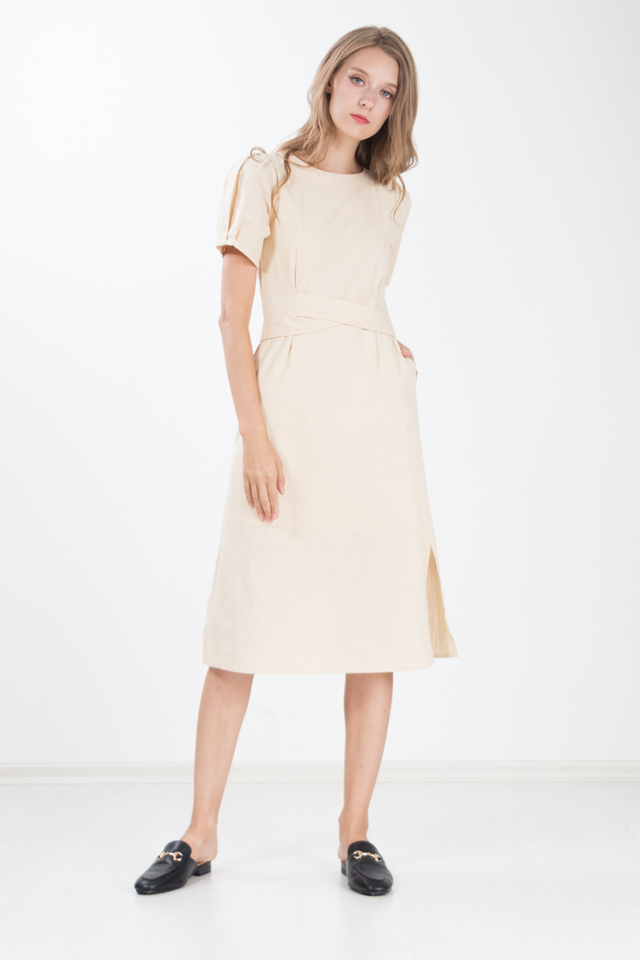 Chae Cotton Linen Midi Dress in Khaki